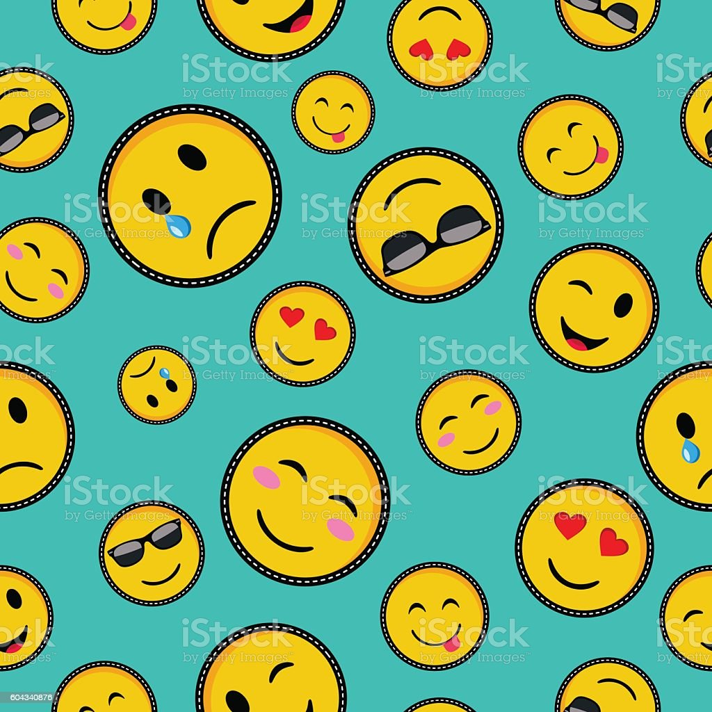 Cute emoji designs Seamless pattern vector art illustration