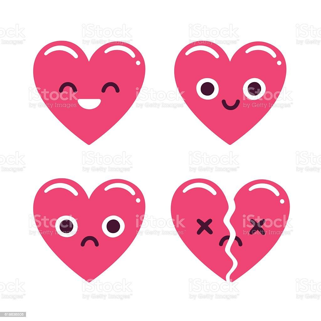 Cute emoticon hearts vector art illustration