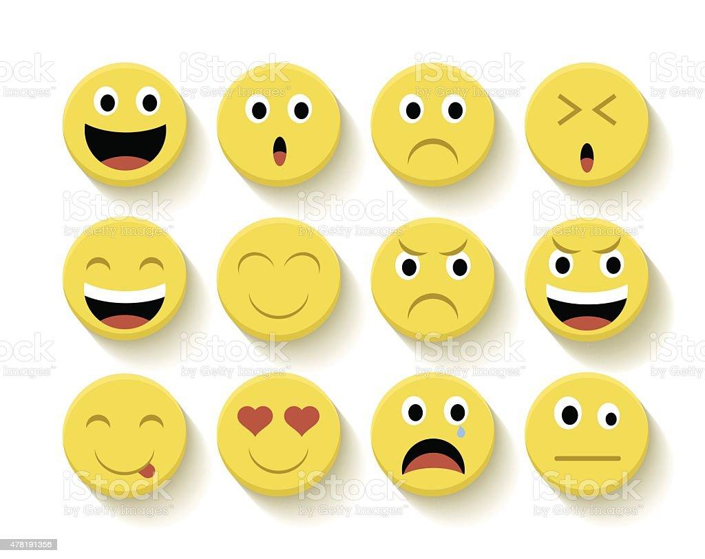 Cute emoticons set illustration vector art illustration