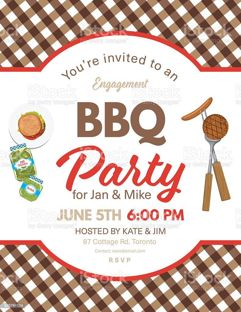 Cute Engagement BBQ Checkered Tablecloths Invitation Template vector art illustration