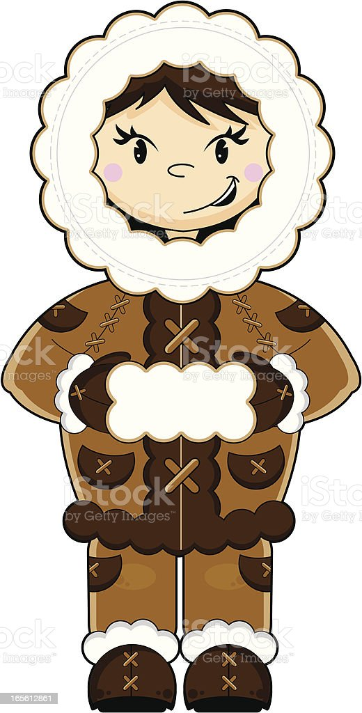 Cute Eskimo Character vector art illustration