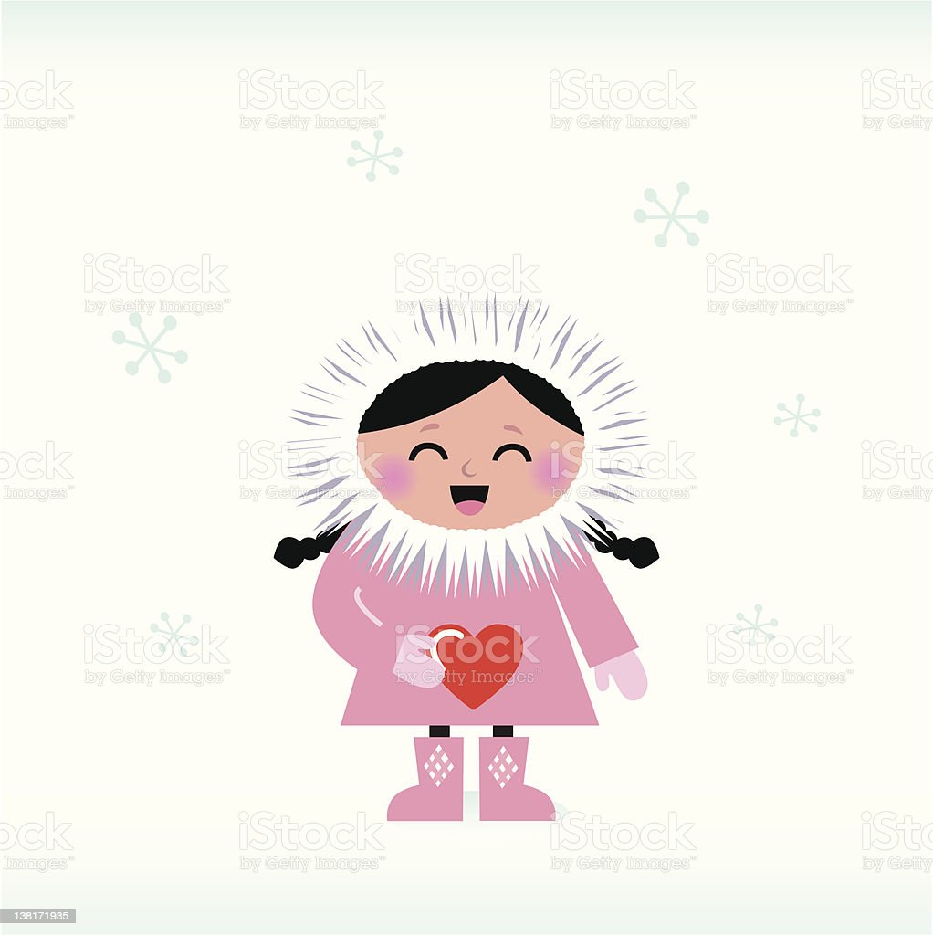 Cute eskimo child holding red heart isolated on white vector art illustration