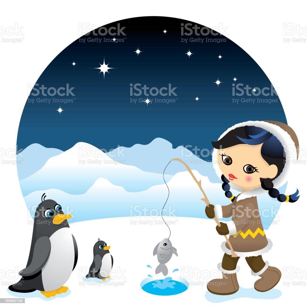Cute eskimo girl royalty-free stock vector art