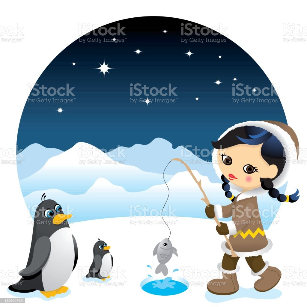 Cute eskimo girl vector art illustration
