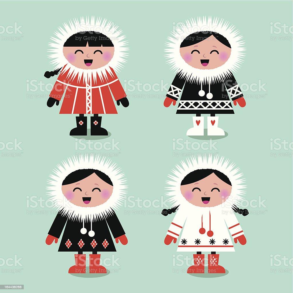 Cute eskimo kids group isolated on white ( vector ) vector art illustration