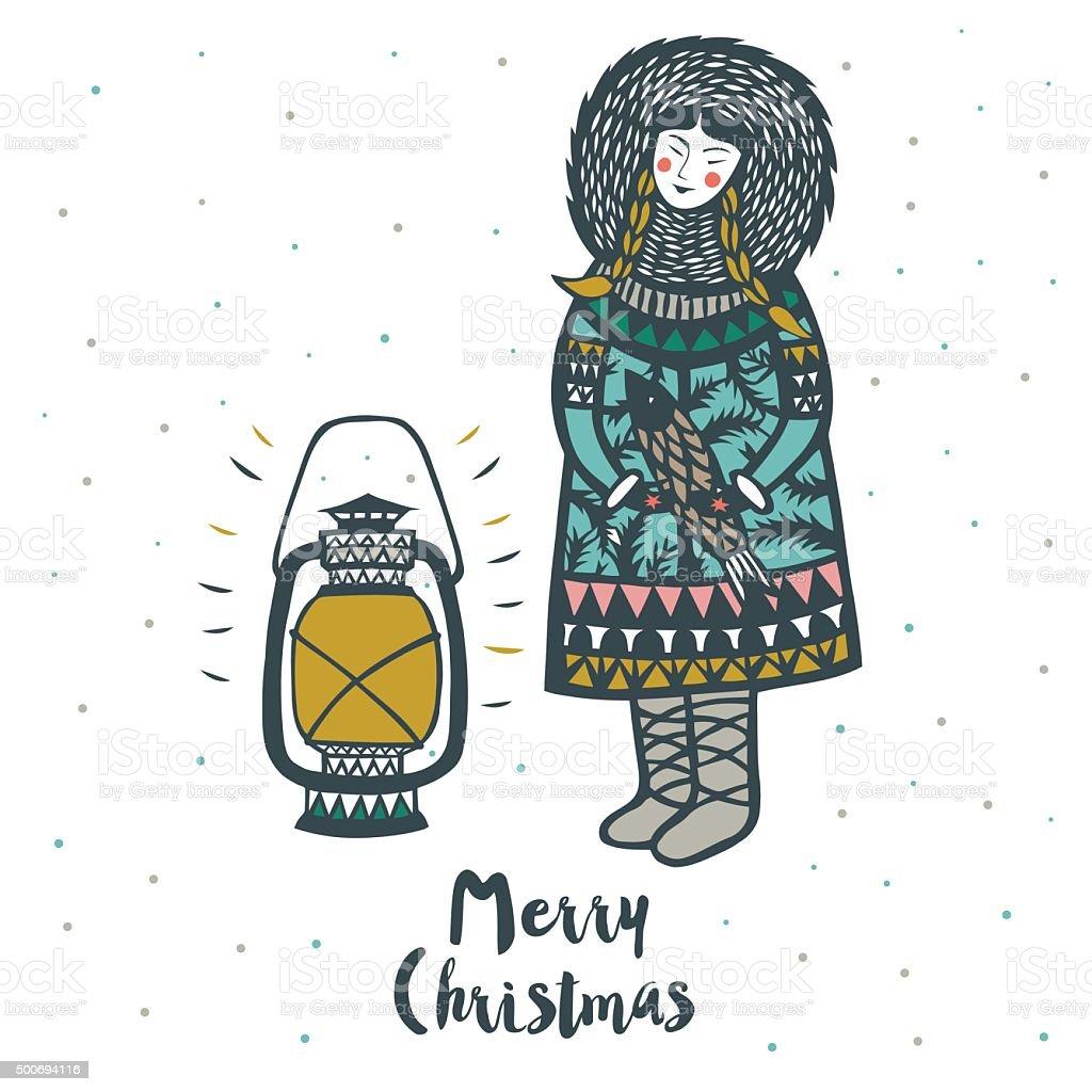 Cute eskimo Merry Christmas card design vector art illustration