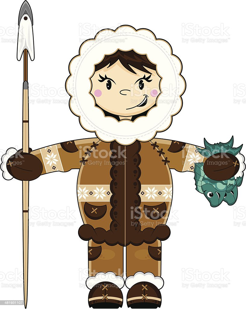 Cute Eskimo with Spear and Fish vector art illustration