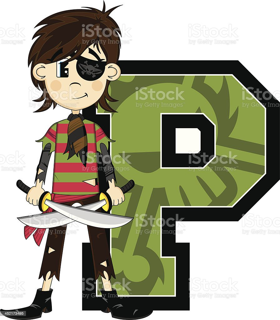 Cute Eyepatch Pirate Learning Letter P royalty-free stock vector art