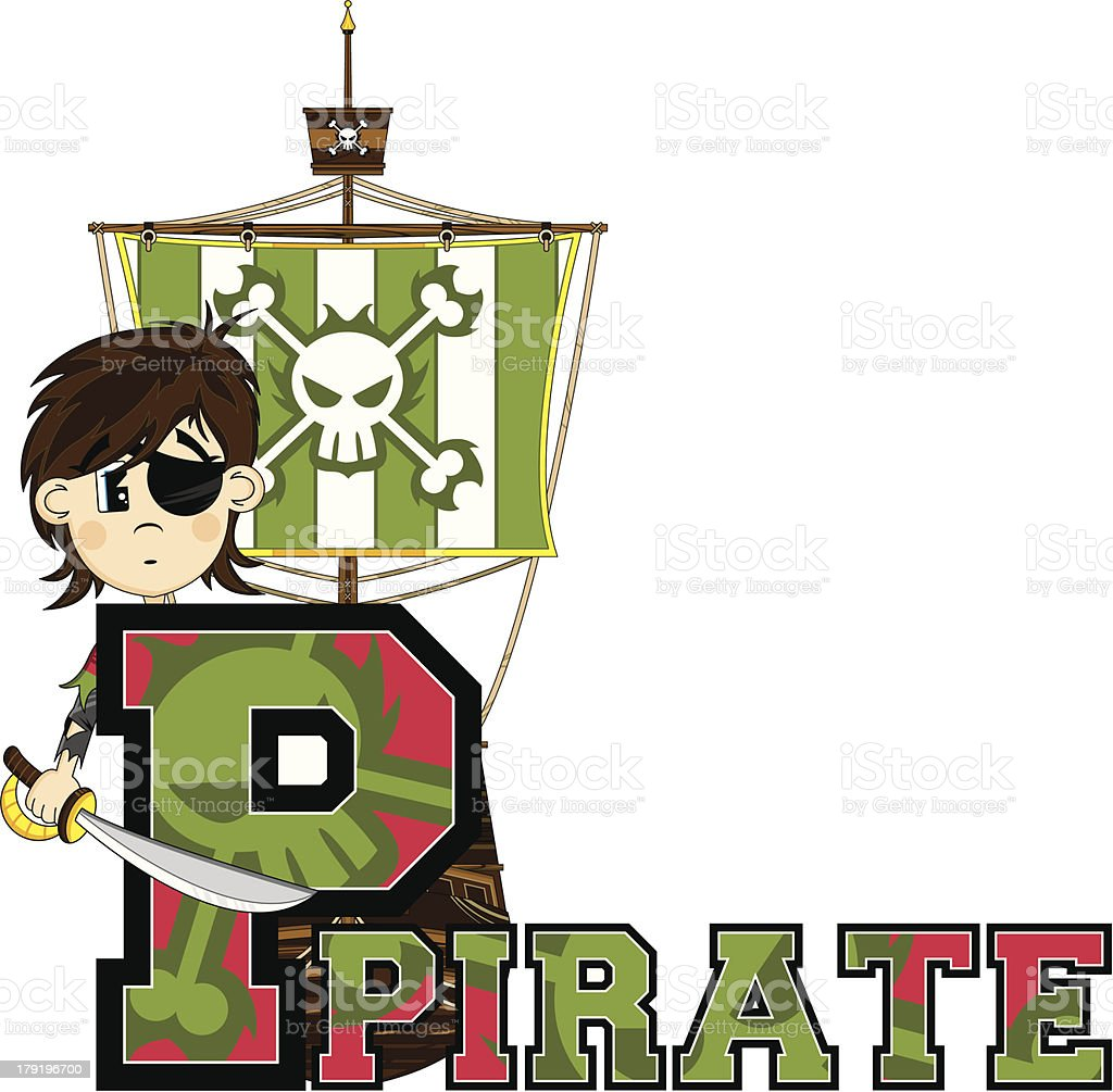 Cute Eyepatch Pirate Letter P royalty-free stock vector art