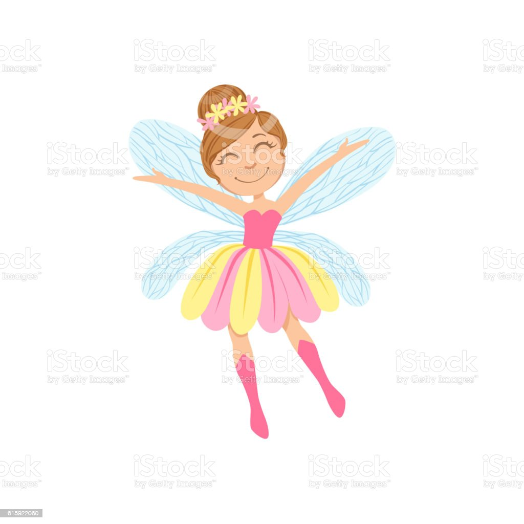Cute Fairy In Pink And Yellow Dress Girly Cartoon Character vector art illustration