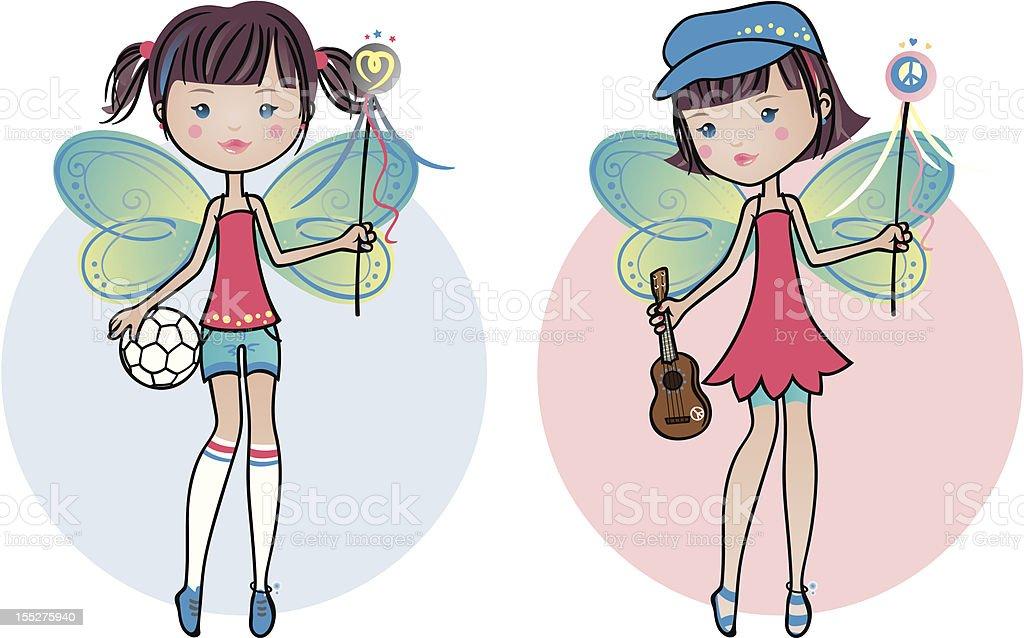 Cute Fairy Twins Girls royalty-free stock vector art