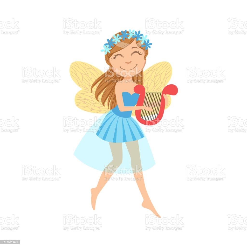 Cute Fairy With Lira Girly Cartoon Character vector art illustration