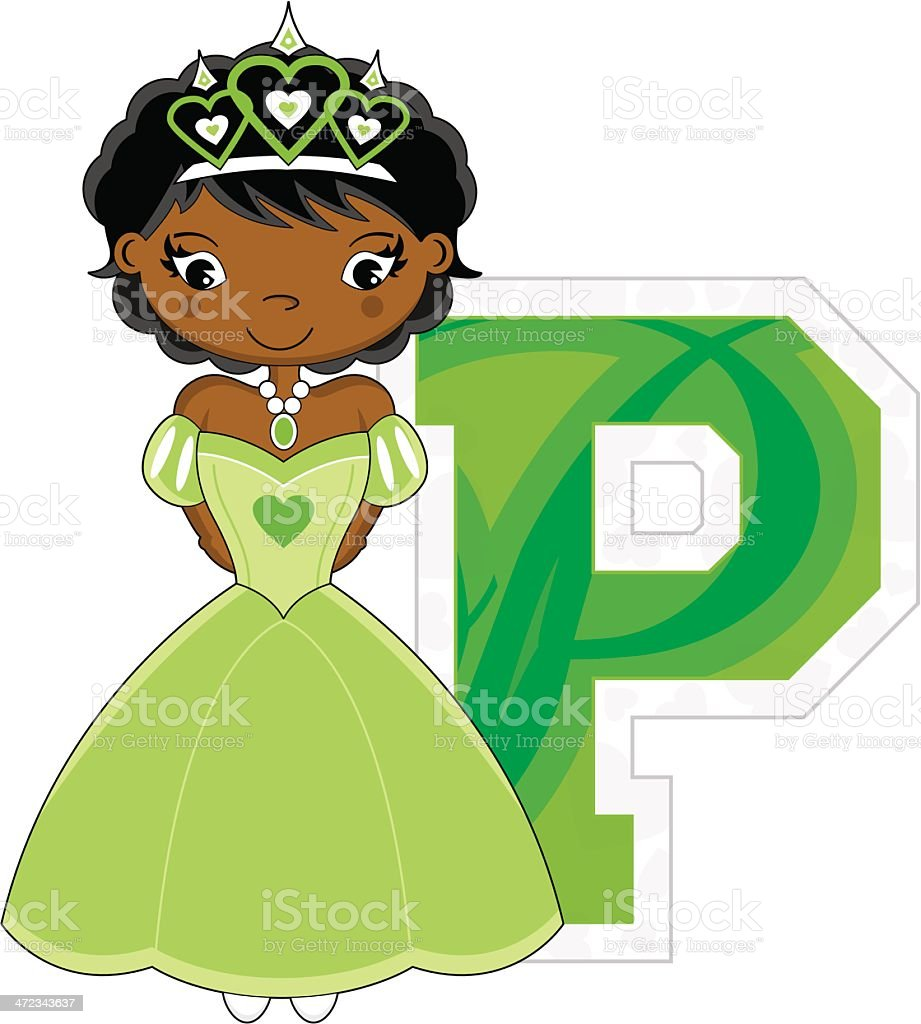 Cute Fairytale Princess Learning Letter P royalty-free stock vector art