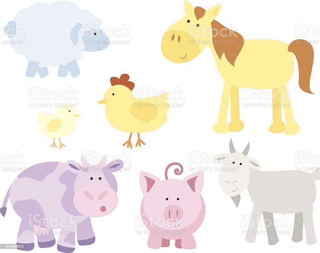 Cute Farm Animals vector art illustration