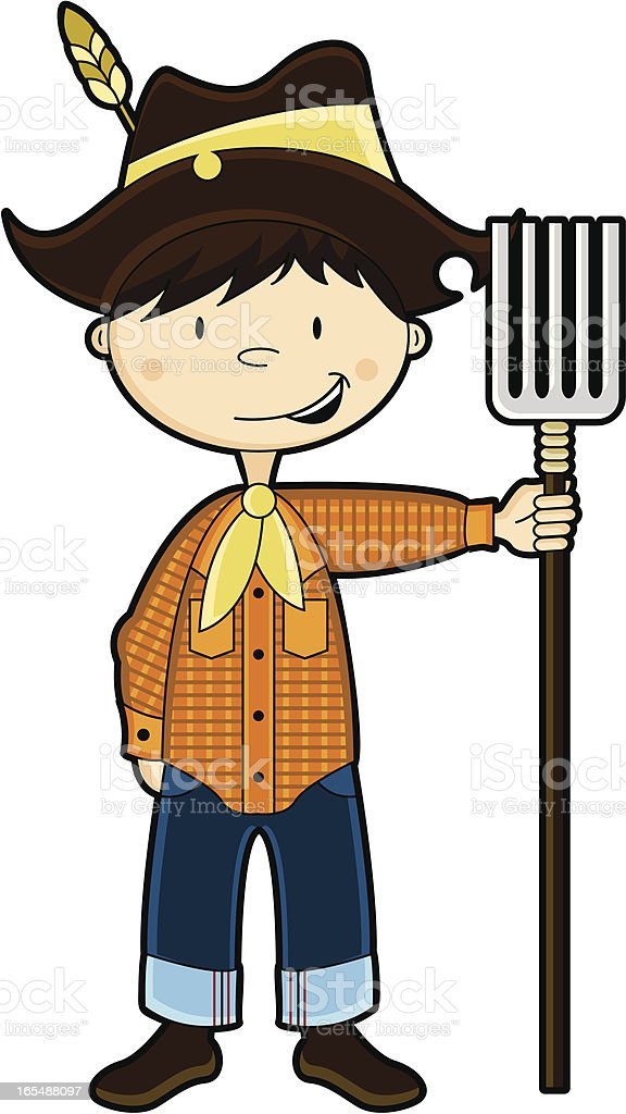 Cute Farm Boy Character vector art illustration
