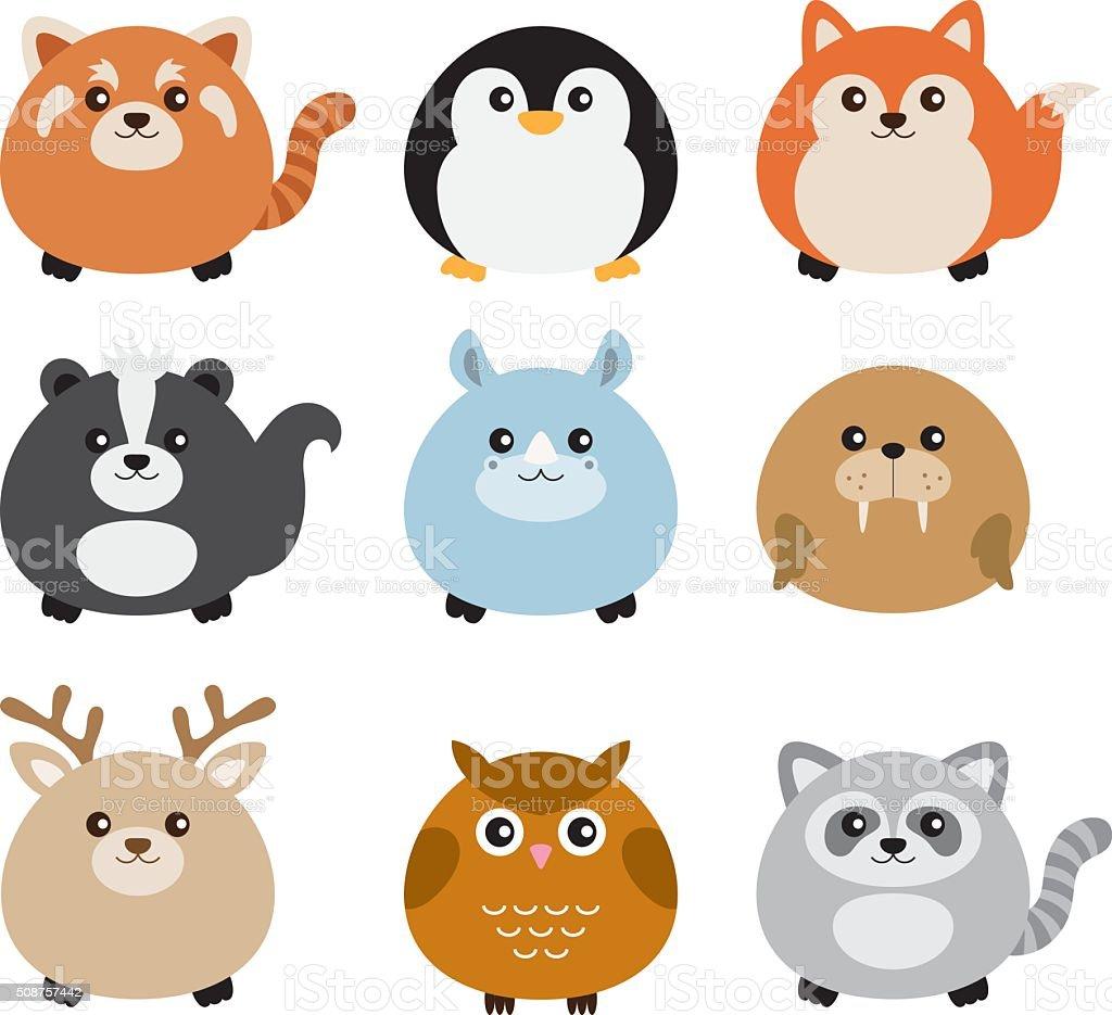 Cute Fat Animal Set Stock Vector Art 508757442 Istock