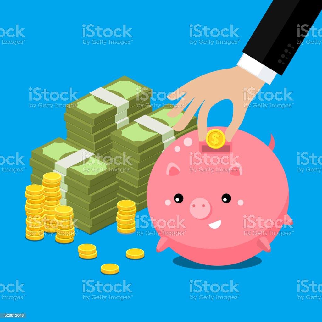 Cute fat piggy bank vector art illustration