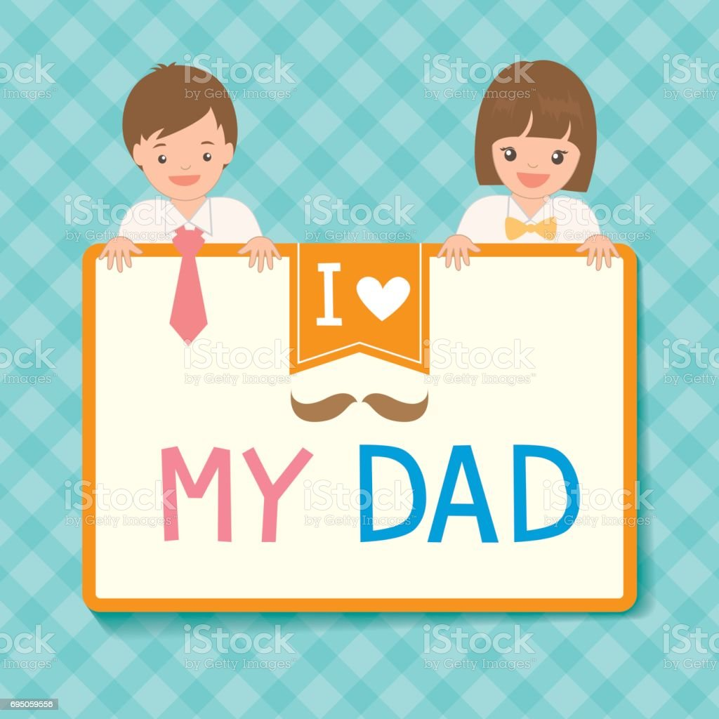 Cute Fathers Day Card With Boy And Girl Dress Up To Her Father ...