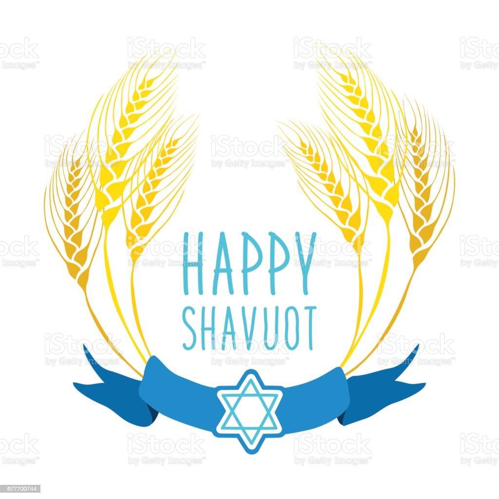 Cute festive wreath Happy Shavuot vector art illustration