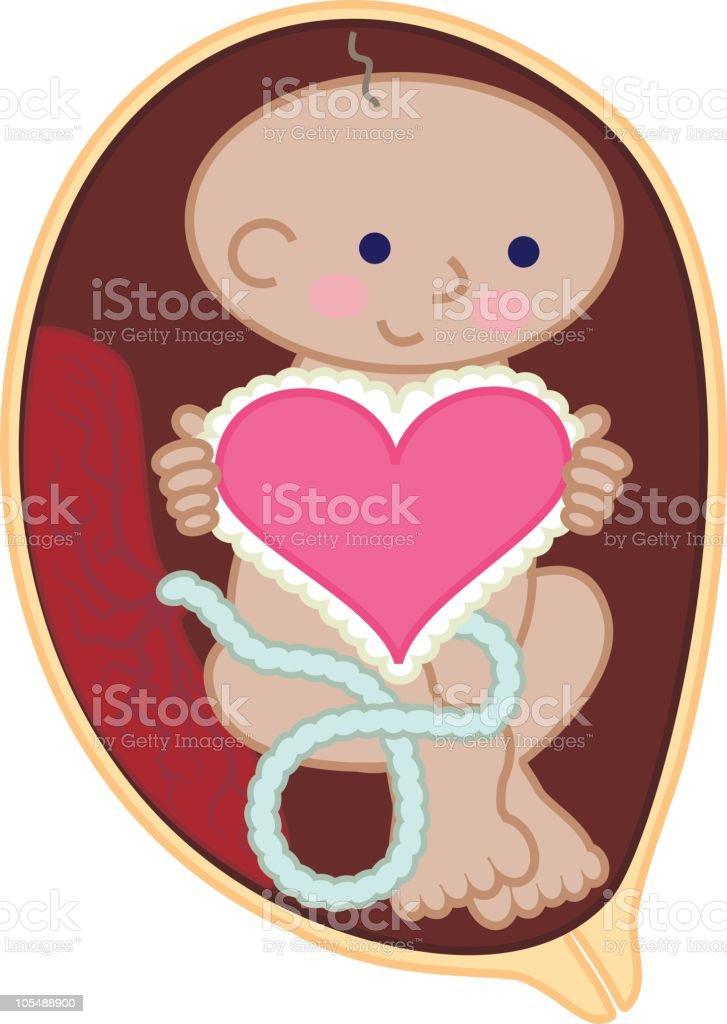 Cute Fetus Holding Heart vector art illustration