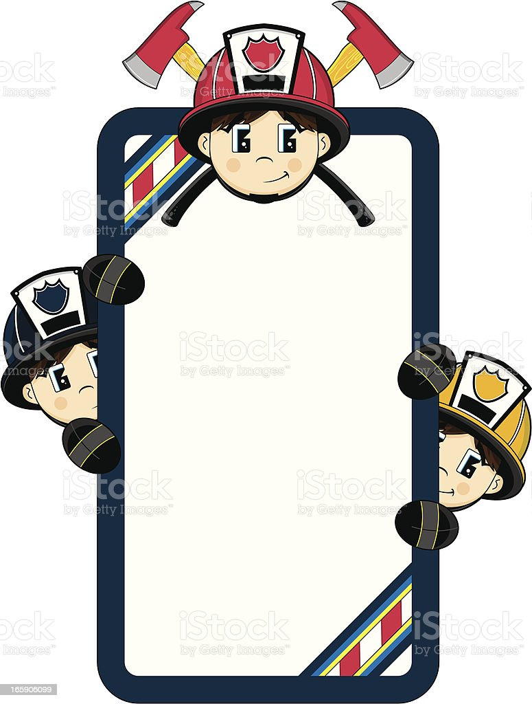 Cute Firefighter Frame royalty-free stock vector art