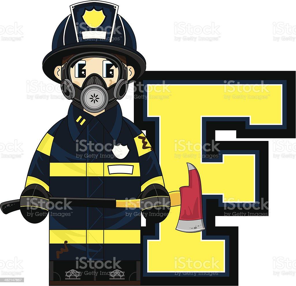 Cute Firefighter Learning Letter F vector art illustration