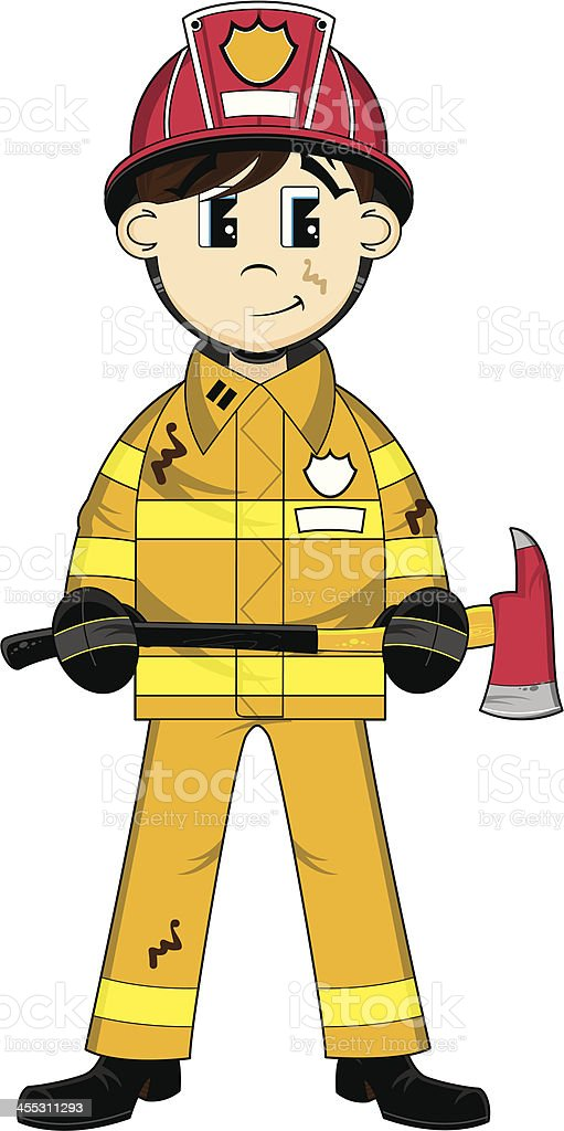 Cute Firefighter with Axe vector art illustration