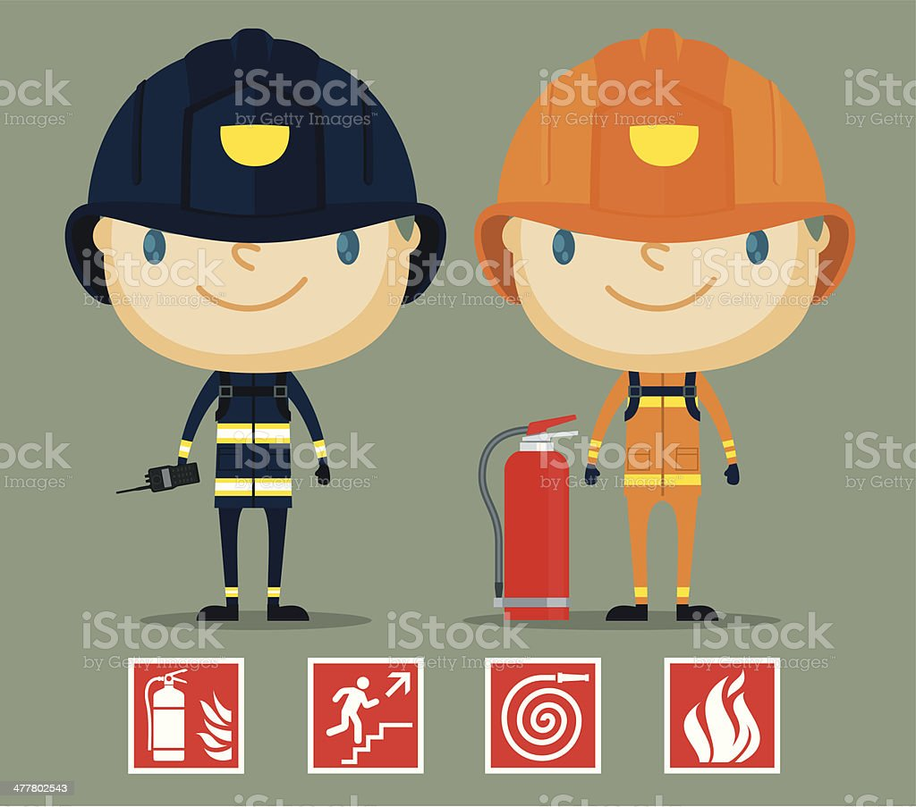 Cute Fireman and Policeman royalty-free stock vector art