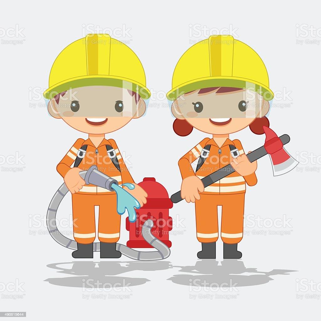 cute fireman, vector illustration vector art illustration