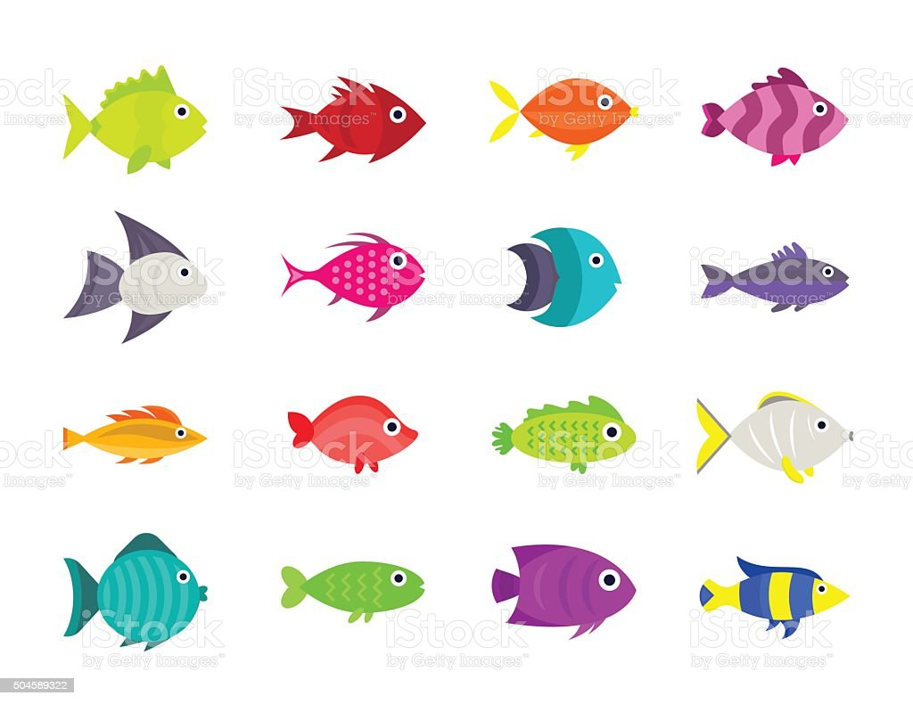Cute fish vector illustration icons set vector art illustration