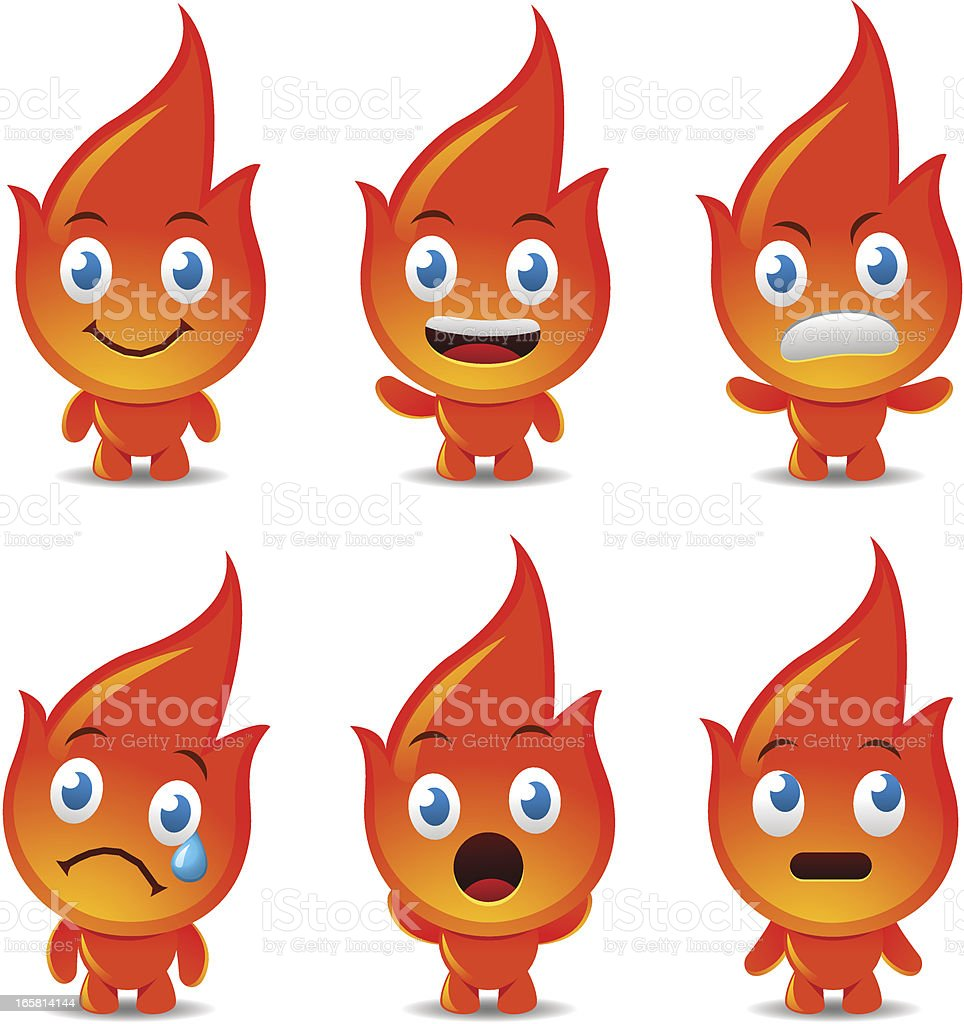 Cute Flame Character royalty-free stock vector art