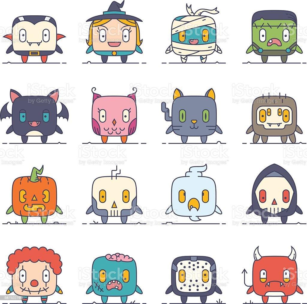 Cute Flat Halloween Characters Vol.1 vector art illustration