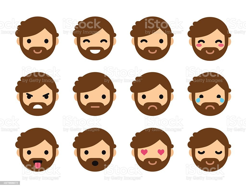 Cute flat male emoticons vector art illustration