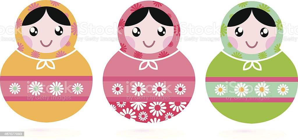 Cute floral colorful Matryoshka set isolated on white royalty-free stock vector art