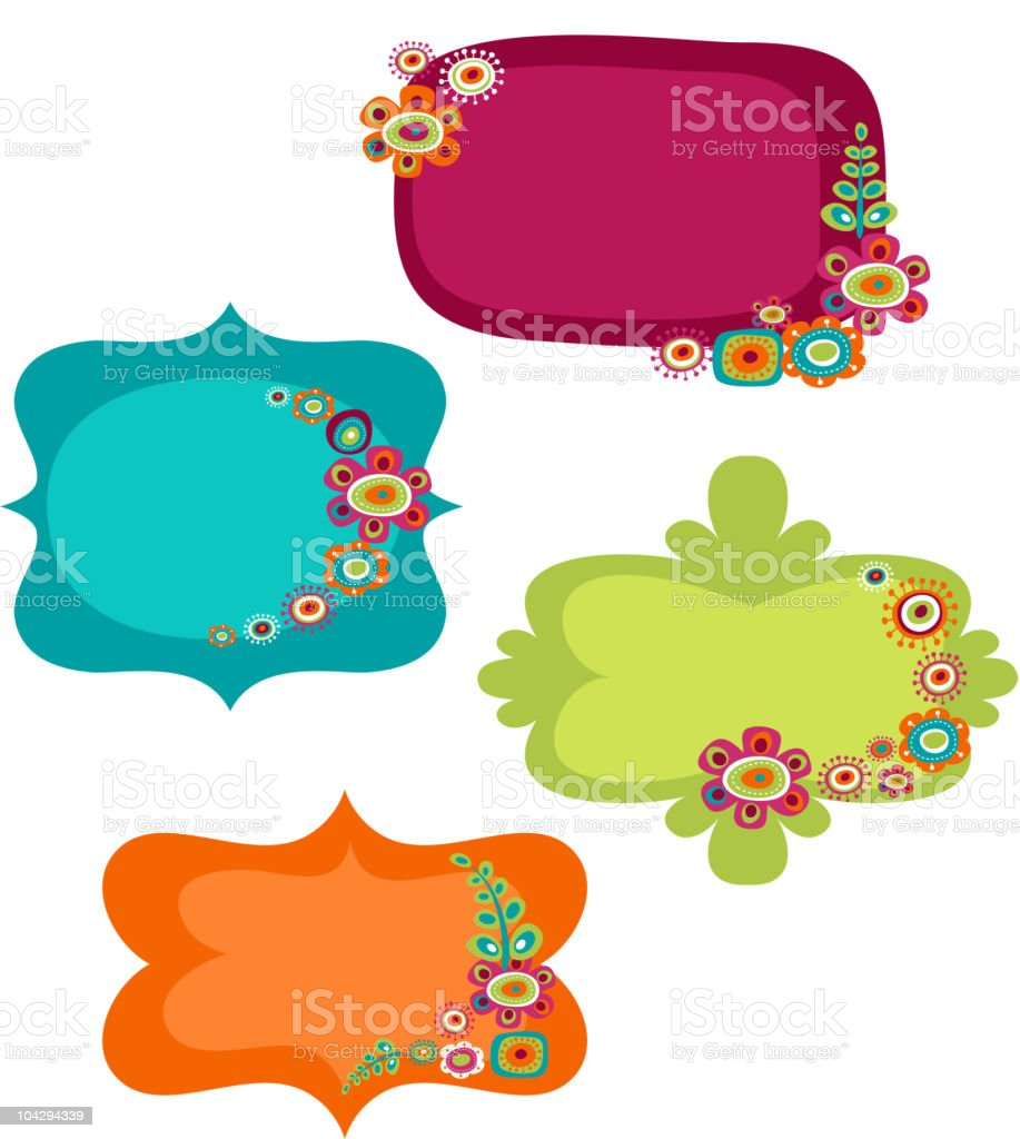 Cute floral labels and frames royalty-free stock vector art