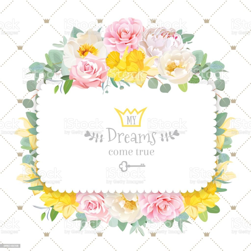 Cute floral square vector design frame with wild rose, narcissus vector art illustration