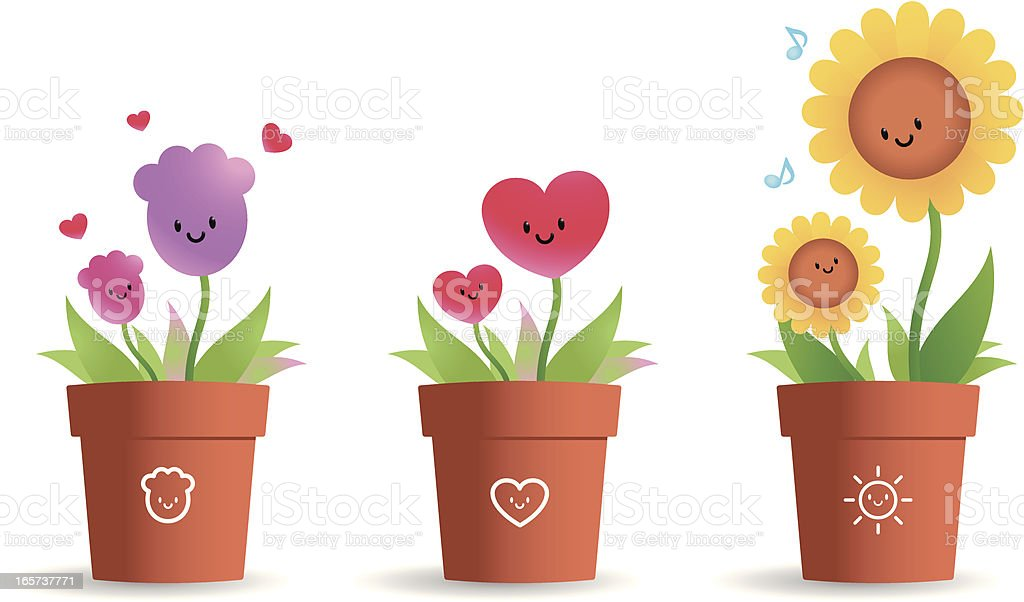 Cute Flower Pot For Mother's Day royalty-free stock vector art