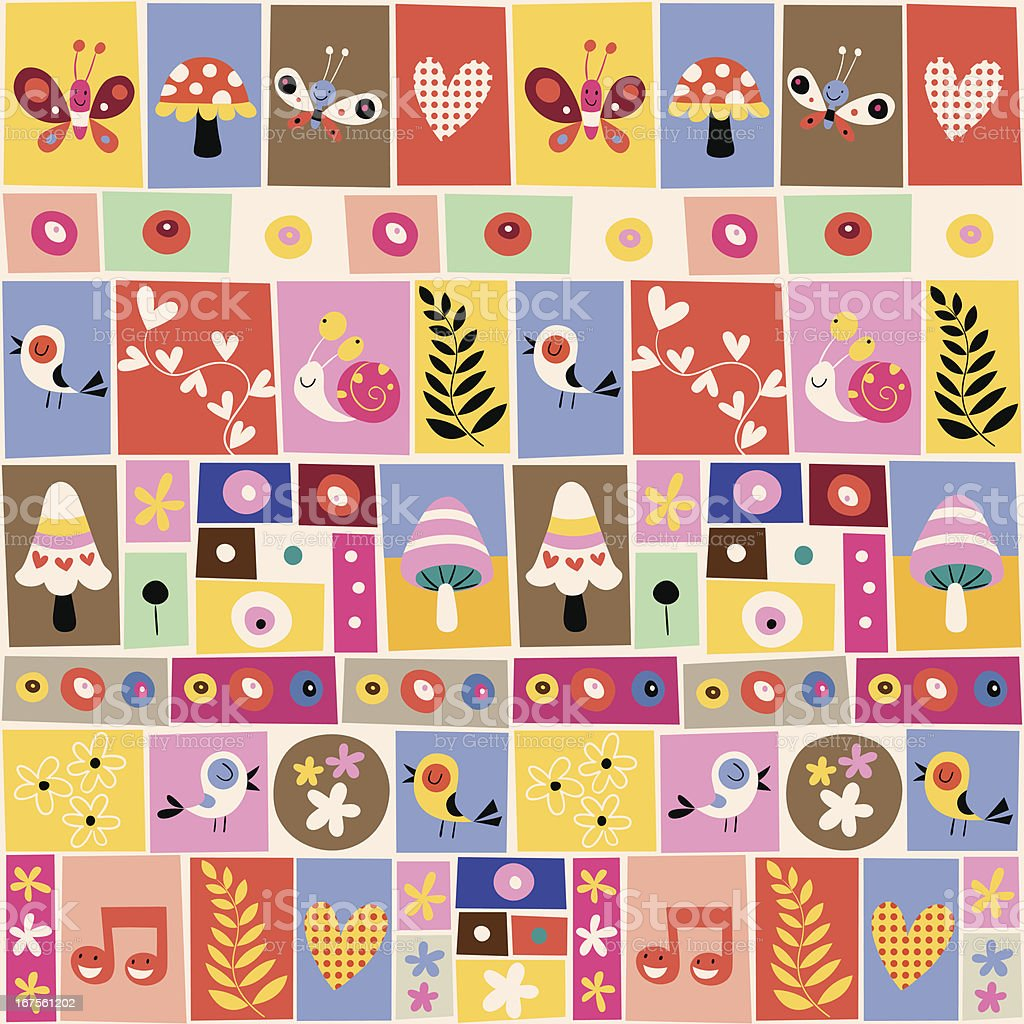 cute flowers, birds, mushrooms & snails collage pattern royalty-free stock vector art