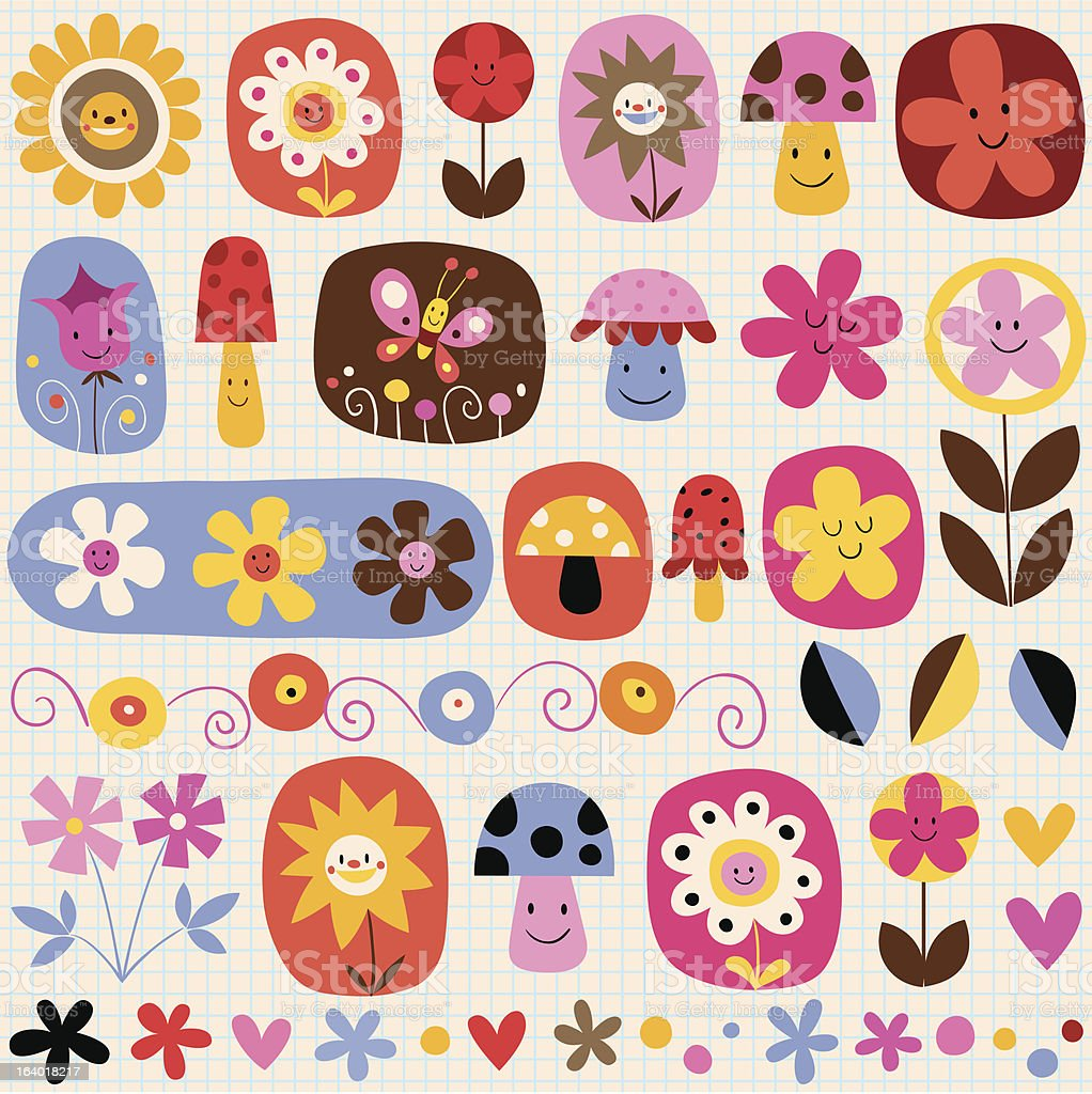 cute flowers royalty-free stock vector art