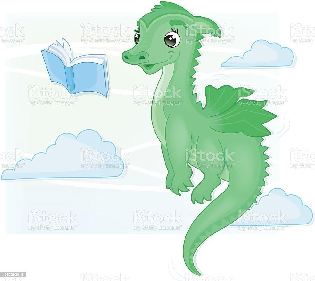 cute flying and reading babydragon vector art illustration