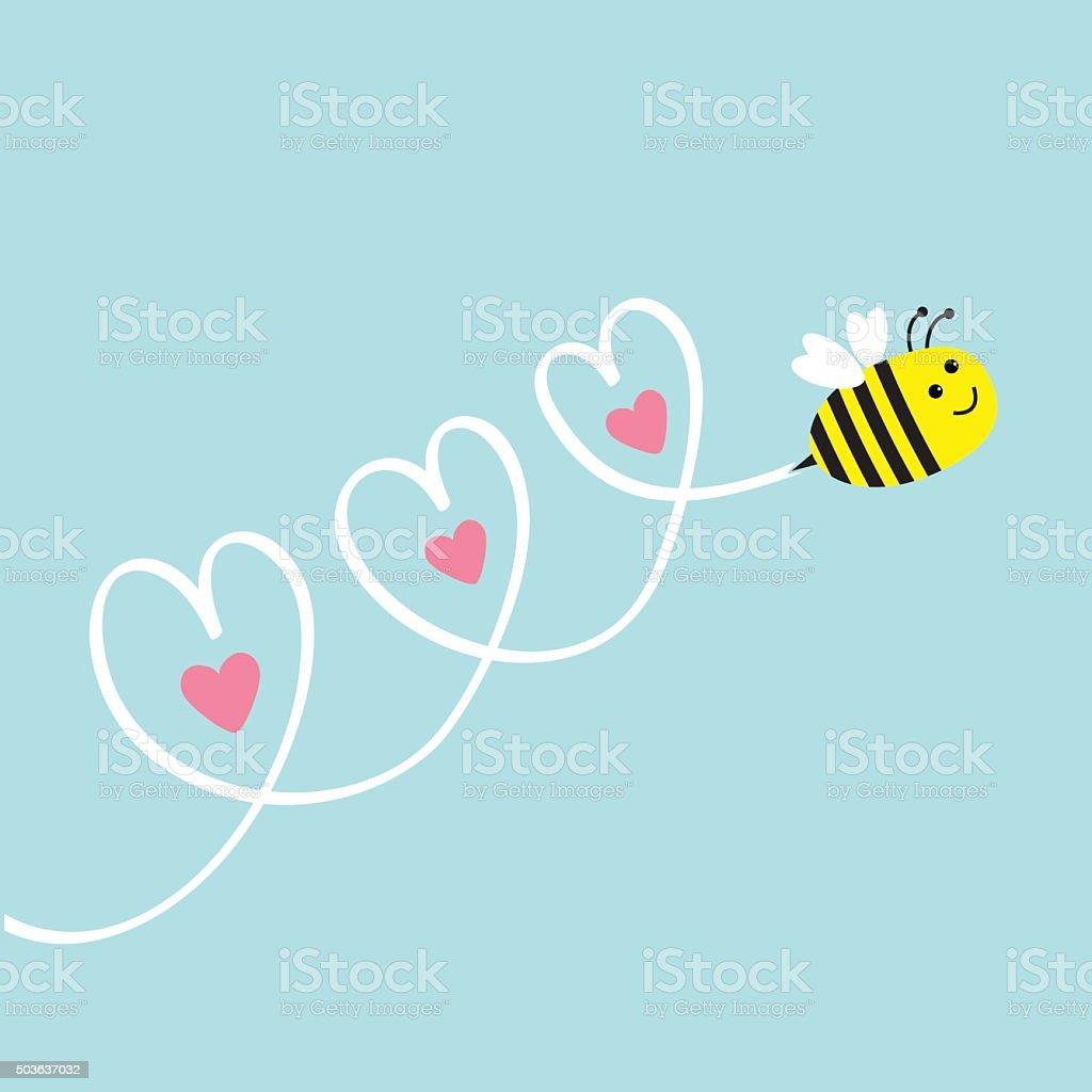 Cute flying bee. Three hearts in the sky. Flat vector art illustration