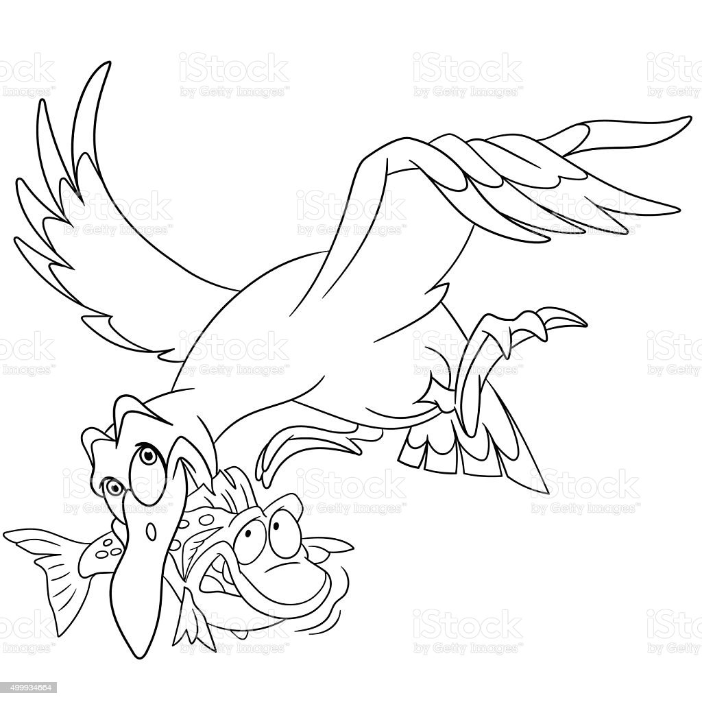 cute flying cartoon seagull with a fish stock vector art 499934664