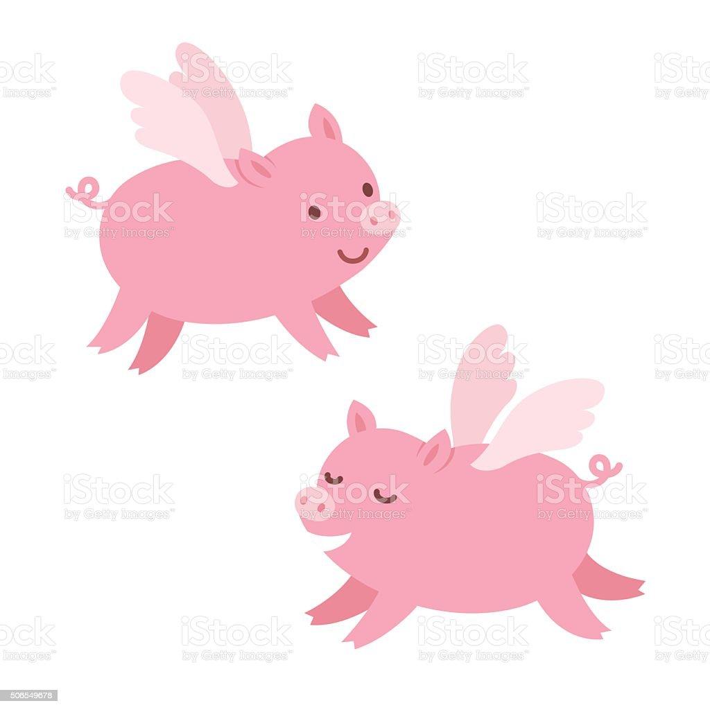 Cute flying pigs vector art illustration