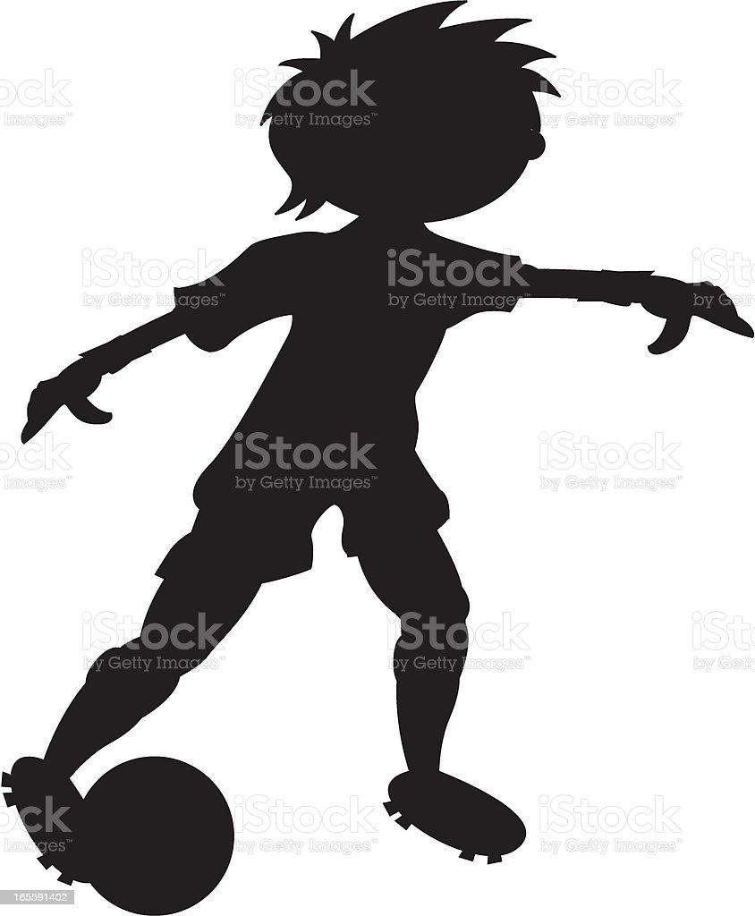 Cute Football Soccer Player Silhouette royalty-free stock vector art