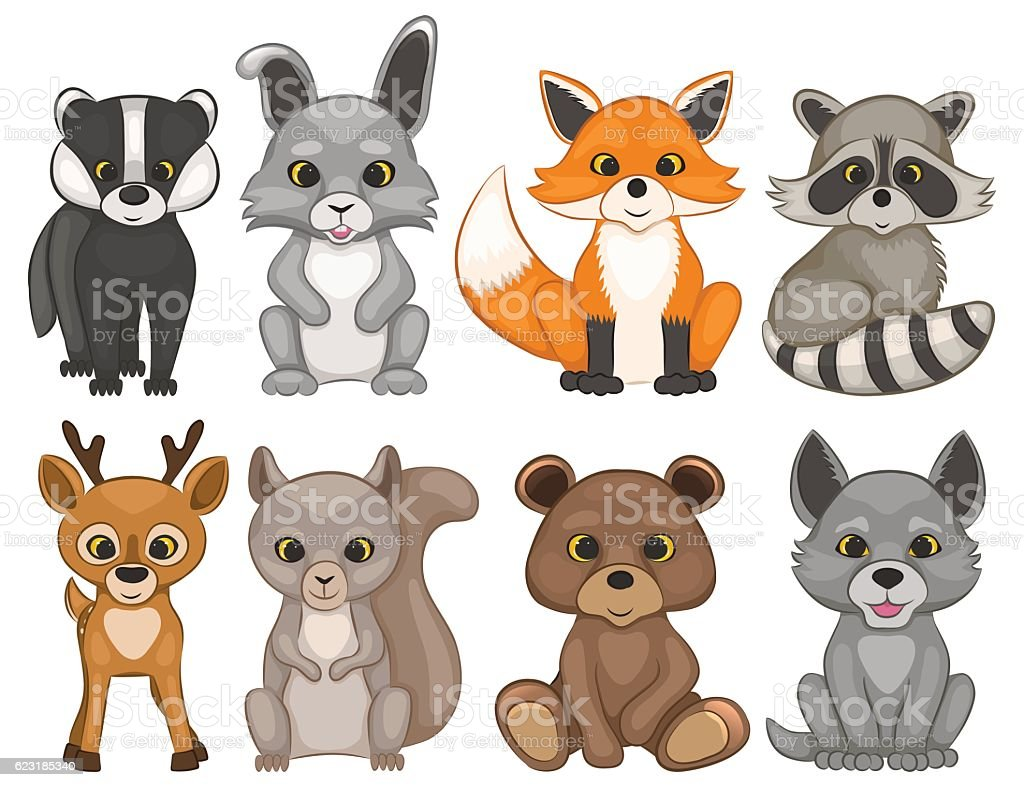 Cute forest animals isolated on a white background. vector art illustration