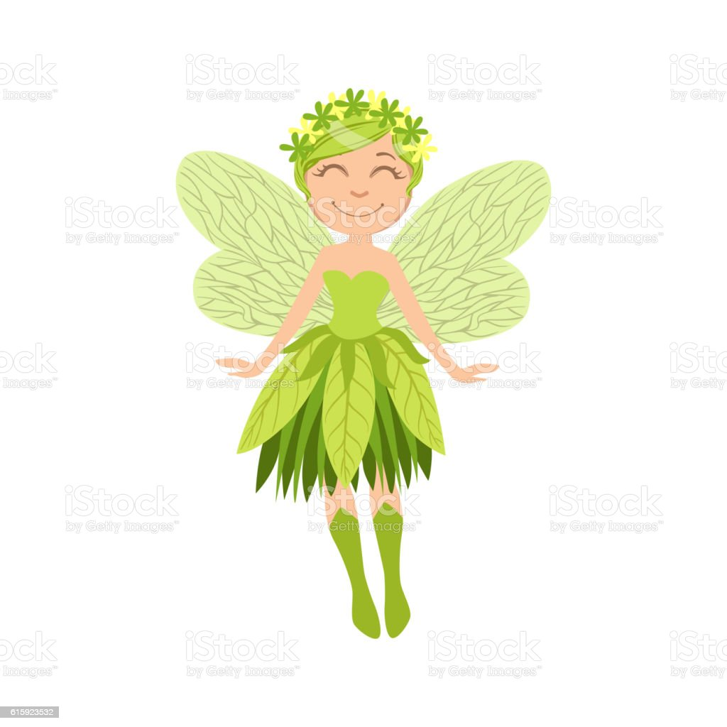 Cute Forest Fairy Girly Cartoon Character vector art illustration