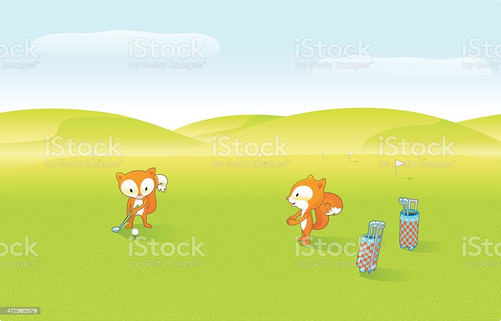 Cute Foxes are playing Golf (sunshine). royalty-free stock vector art