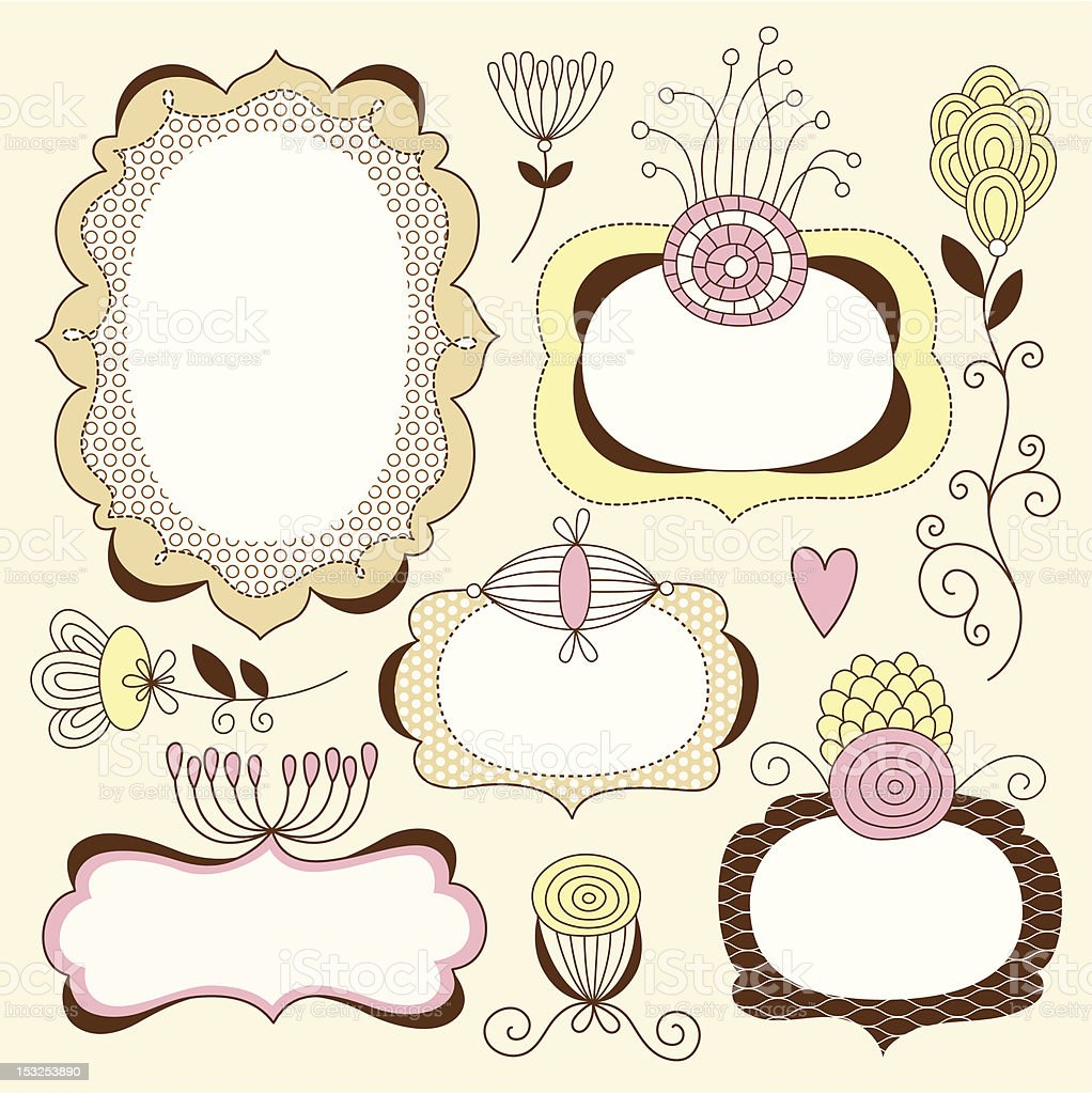 Cute frames with floral elements royalty-free stock vector art