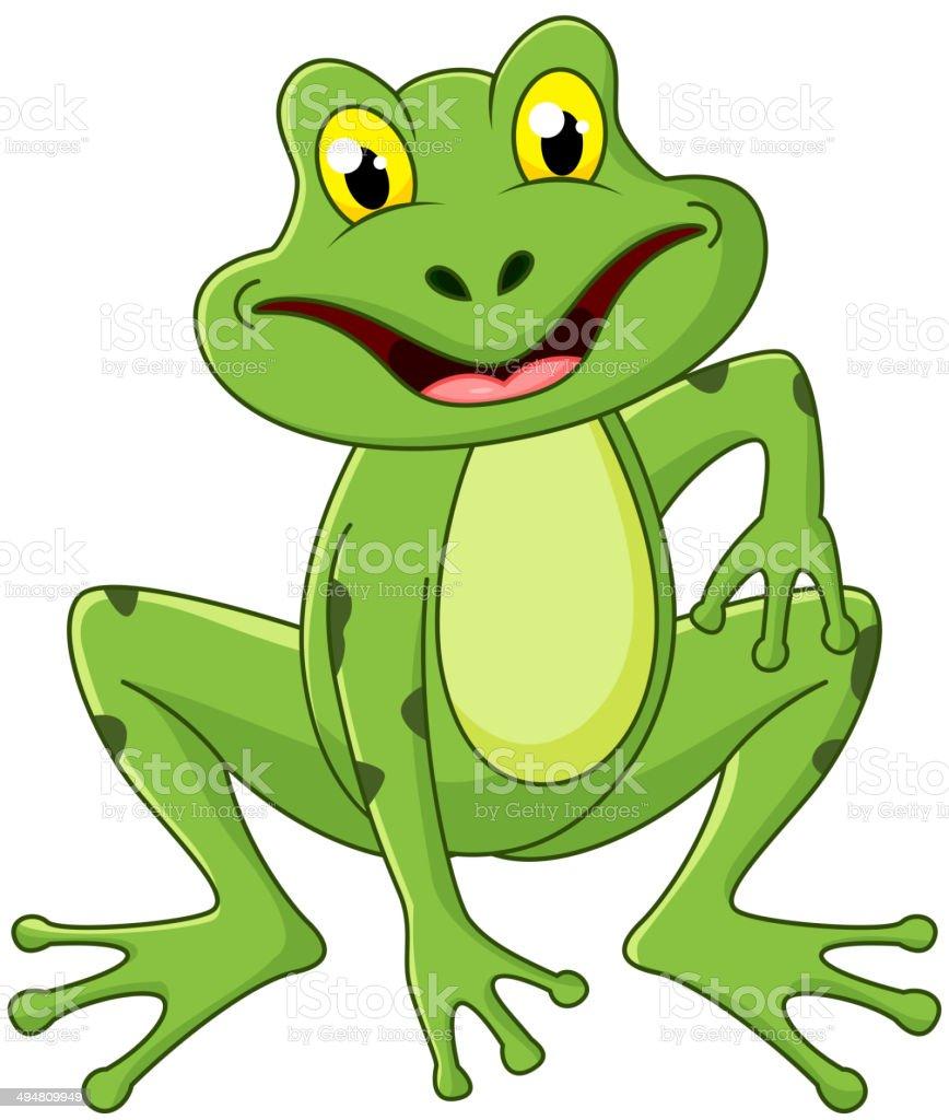 Cute frog cartoon royalty-free stock vector art