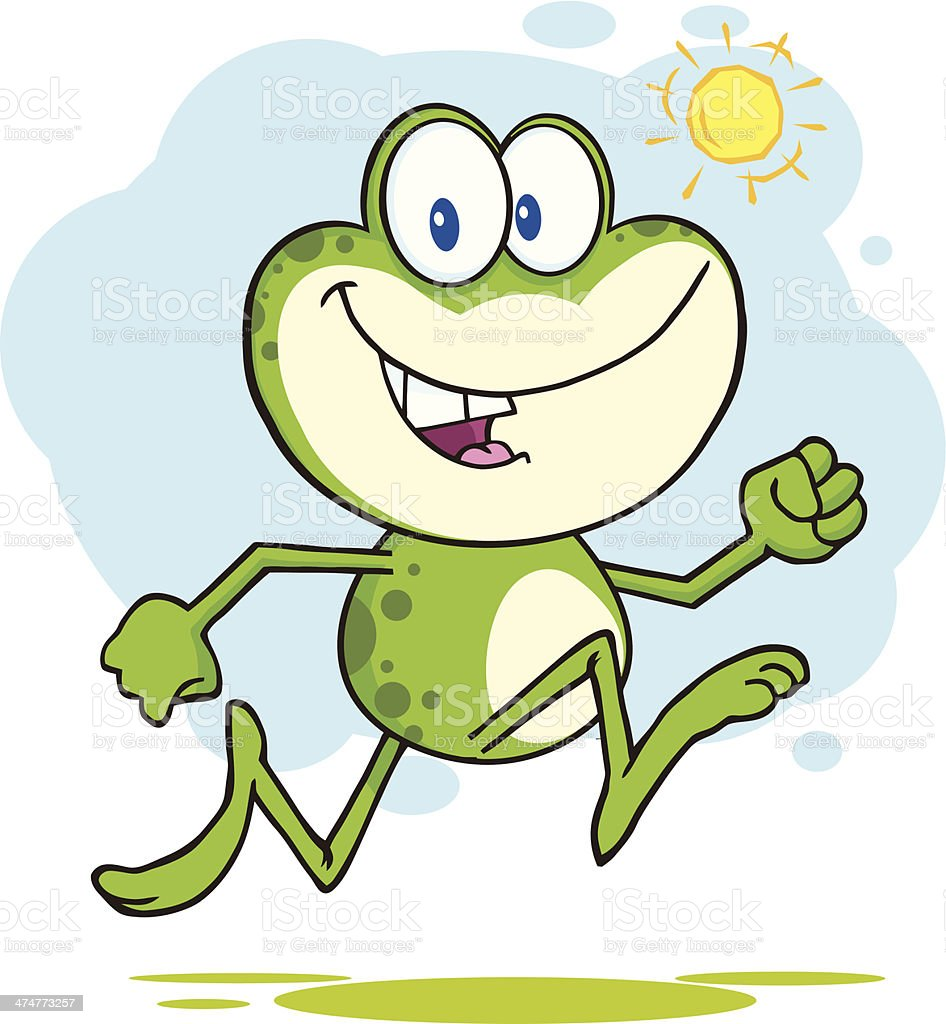 cute frog jogging with background stock vector art 474773257 istock